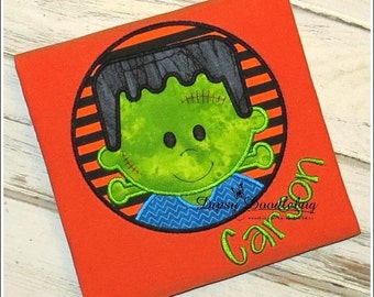 Halloween Frankenstein Circle Applique Design - Instant EMAIL With Download - for Embroidery Machines
