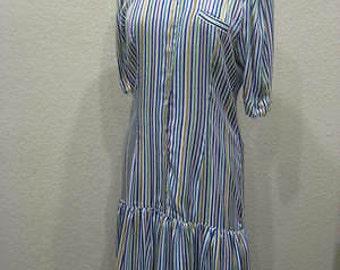 Vintage 1980s Roma Couture Silk Verical Stripe Womens Drop-Waist Dress