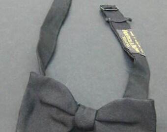 Vintage Frederick & Nelson Adjustable Black Rayon File Bowtie