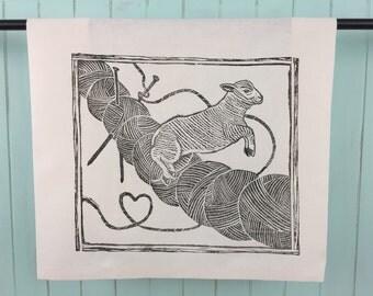Block Printed Sheep Jumping Yarn