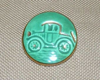 Bright Mint Green, Vintage Studio (ART) Button--Ceramic with Old Car and Gold Luster
