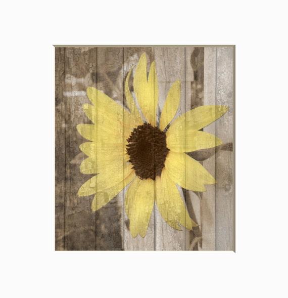 Rustic yellow brown sunflower decor farmhouse bedroom living for Sunflower bedroom decor