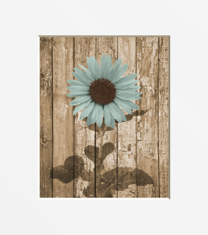 Sunflower Wall Art Photography Rustic Brown Blue Sunflower