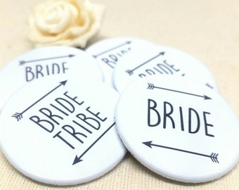 Heart Hen Do / Wedding / Team Bride / Bride Tribe Badge (A Set)