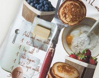 Recipe tea towel. Tea towel with printed pancake recipe.  Tea towel with printed food photography. Cotton flour sacks. Gift ready.