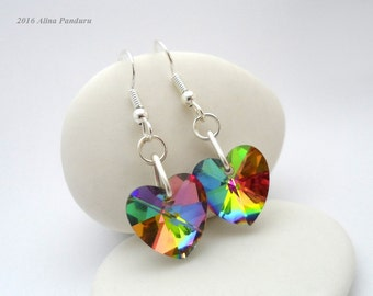 Valentine Earrings Rainbow Glass Heart Earrings Hypoallergenic Earrings Gifts Under 15, Surgical Steel Ear Wires Valentines Day Gift for Her