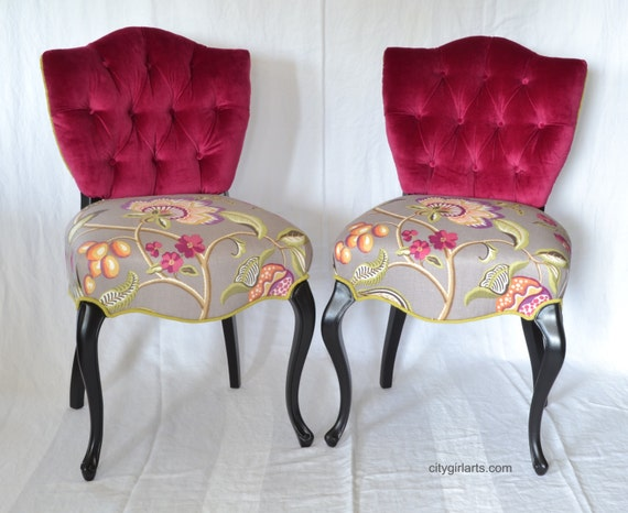 Items Similar To Chairs French Upholstered Accent Pink