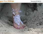 ON SALE Barefoot sandles WHITE sandals Wedding beach party crochet sandal foot jewelry leg decoration shoe hippie sandals women teen bridal