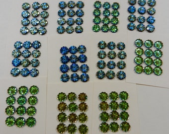 Shimmering Vintage Czech Glass Sequins Beads In Blues And Greens With Flower Petal Design Sold In Sets Of Twelve Pieces