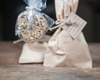 BIRDSEED HEARTS In a Paper Bag wrapped and tied with twine with a Personalized Card to attach