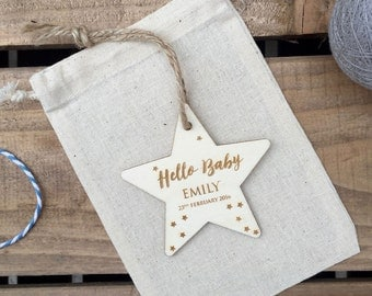 NEW BABY // Hello Baby Engraved Plywood Star // Hanging Ornament