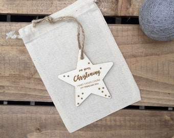Christening Gift // On your Christening Engraved Plywood Star // Hanging Ornament