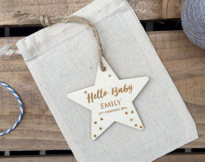 Featured listing image: NEW BABY // Hello Baby Engraved Plywood Star // Hanging Ornament