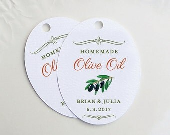 Custom Olive Oil Tags, Wedding Favor Tags or Custom Olive Labels, Olive Oil Favors, Personalized Gift Tags or Shower Gift Tags - Set of 20