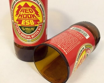 Red Hook Beer Bottle Tumbler Drinking Glasses. Recycled Glass Bottles. Man Cave Cups.