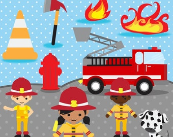 Firefighter Clip Art - Emergency Clipart - Fire Graphics - Commercial Use Ok - Please Read Our Policies  Prior To Purchase - 25 Images