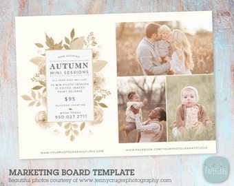 Autumn Marketing Board - Fall/Autumn Mini Sessions - Photoshop template - IW021 - INSTANT DOWNLOAD