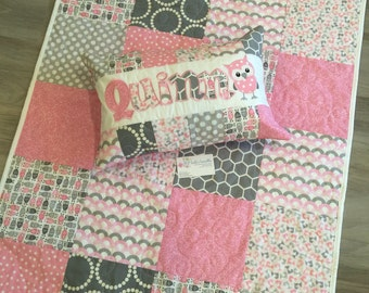 Pink and Grey foxes and owls woodland baby quilt and pillow set.