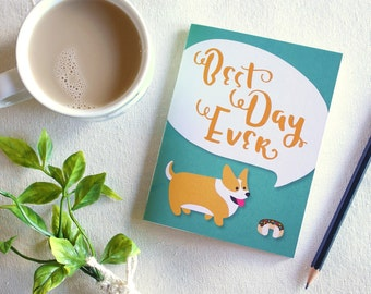 "Pocket notebook ""Best Day Ever"" Corgi / blank pages / hand bound with thread / gift"