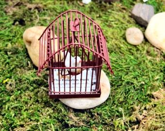 Dollhouse Miniature Red Bird Cage ~ White Dove ~ Fairy Garden ~ Houston Post ~