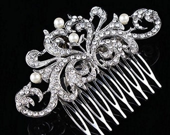 Ship TODAY from GA!!Bridal rhinestone tiara,hairpiece, rhinestone crown with pearl