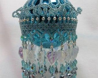 Beaded Glass Ornament Teal Color Unique Fringe Christmas Tree Hanger