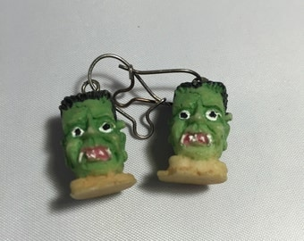 Vintage Halloween Earrings - Frankenstein 3D