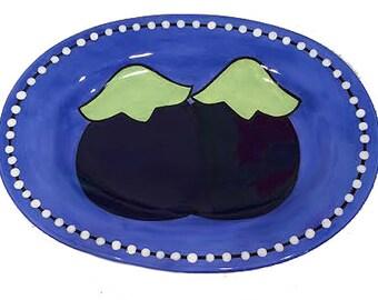 Handmade Bright Blue Petite Oval Eggplant Plate