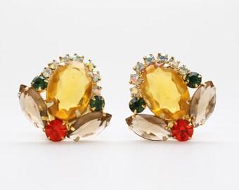 Juliana Orange and Yellow Rhinestone Earrings - Vintage 1950s D & E Clip Ons