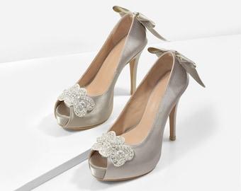 The Proposal Silver Satin Wedding Heels, Silver Bridal Heels, Swarovski Heels, Bridal Shoes, Custom Made Wedding Shoes, Silver Heels