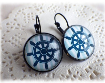 Steering wheel marine blue - Earrings sailor, glass cabochon, black earrings sailing maritime nautic