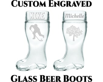 Custom Beer Boot- 1 or 2 Liter- Custom Engraved Glass Beer Boot