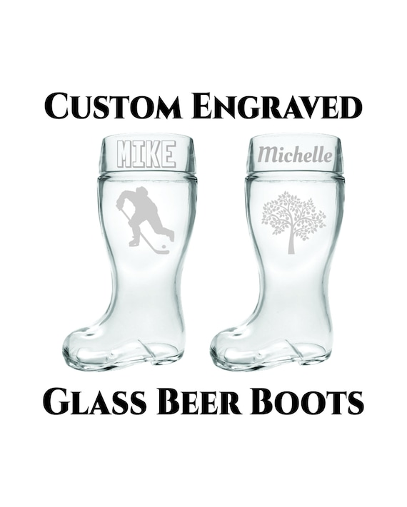 Custom Beer Boot- 1 or 2 Liter- Custom Engraved Glass Beer Boot