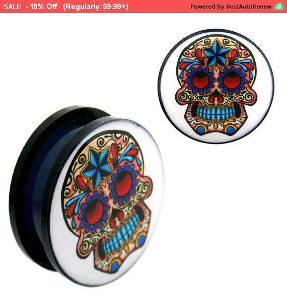 Uv logo plugs blue star sugar skull screw fit by for Day of the dead body jewelry