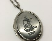 Ship's Ahoy Vintage Silver Locket Ship Pirate Boat Necklace by oldmanwithers