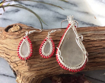 Sea Glass Red Bead Necklace & Earrings set. Wire Weaved/Wrapped ocean tumbled Sea Glass