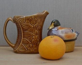 french vintage ceramic pitcher, sunflower detail jug, honey coloured glaze, rustic cottage chic, hand made in France, Sarreguemines France