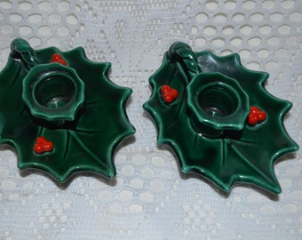 SALE - Vintage Lefton Holly Berry Christmas Candle Holders