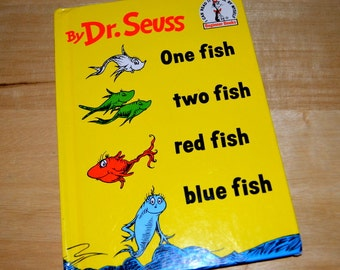 """Vintage Children's Book """" One two fish red fish blue fish """"  By Dr. Seuss"""
