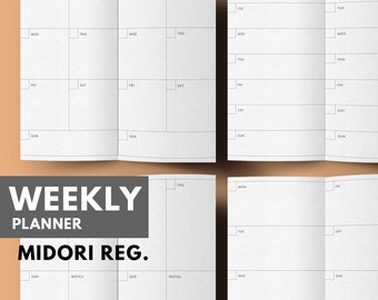 Week on 2 Pages Printable | WO2P | Midori traveler's notebook insert printable