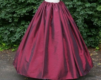 Ladies Victorian / Edwardian costume SKIRT gentry / ball gown fancy dress Sizes 6-32 Burgundy