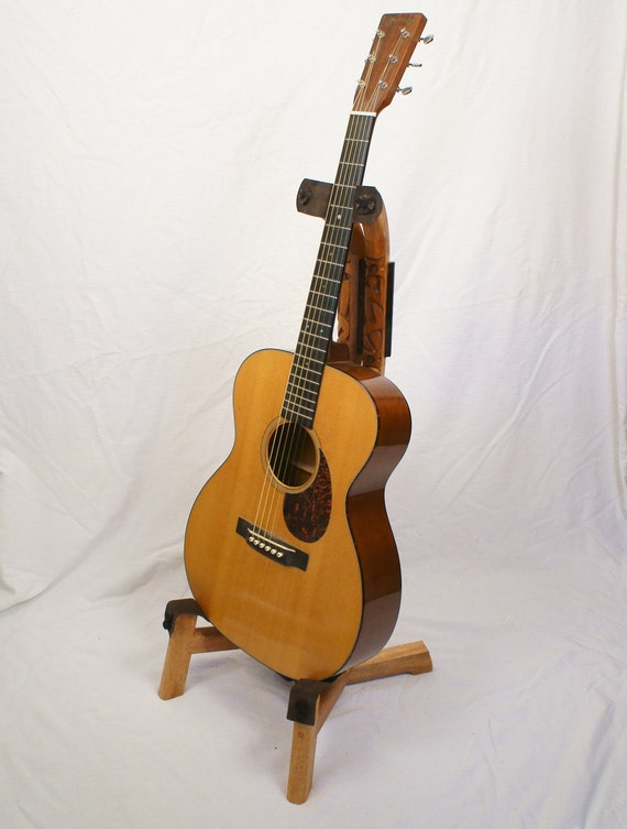 Mahogany custom wooden guitar stand with strap hand carved