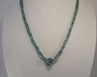 Teal Tones Beaded Necklace