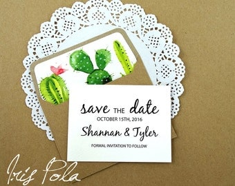 Wedding, Cactus, Save the Date, Lined Envelopes, Elegant, ECO, Recycled