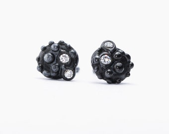 Oxidized silver stud earrings with false diamonds. Black and White oxidized silver stud earrings