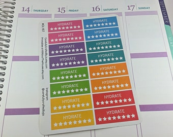 Hydrate Star Planner Stickers, Rainbow Sticker, Hydrate, Water, H20 Checklist Sticker, Erin Condren, Plum Paper, MAMBI, planner accessory