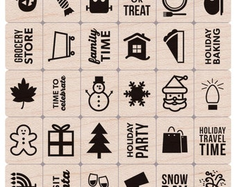 "Holiday Planner Icon Stamps  - Hero Arts Mounted Rubber Stamp Set 3""x 3.3"" - Christmas, Party, Birthday"