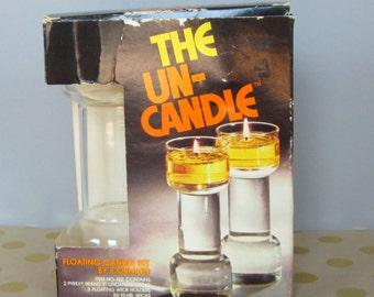 The Un-Candle Floating Glass Candle Set by Corning Pyrex Vintage 1970s