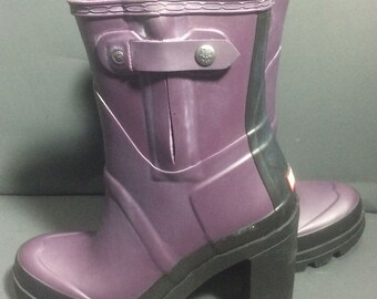 HUNTER Original High Heel Purple Rubber Rain Boots Women's Size 8