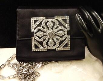 Vintage Jeanne Lottie Black Rhinestone  Evening Bag